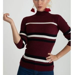 Sweaters - Claret Red ribbed turtleneck sweater